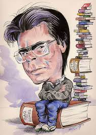 Stephen King sitting on books