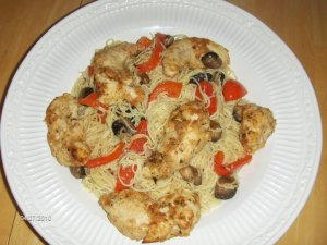 angel hair chicken scampi