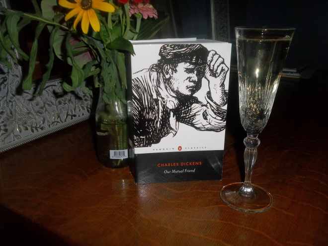 Book, Blooms from a friend and Bubbly. Celebrating the completion of my LOST reading challenge!